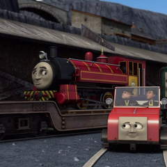 Victor with Paxton, Winston, Sir Topham Hatt, and Mr. Percival