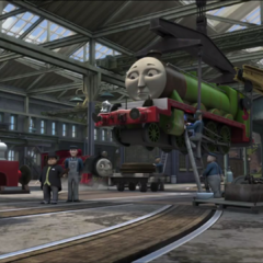 Kevin with Henry, James, Victor, and Sir Topham Hatt