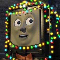 Diesel covered in Christmas lights