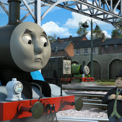 Diesel with Thomas, Percy, and Sir Topham Hatt