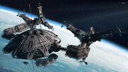 Space station near the planet wallpaper