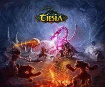 Tibia artwork dragonfight logo