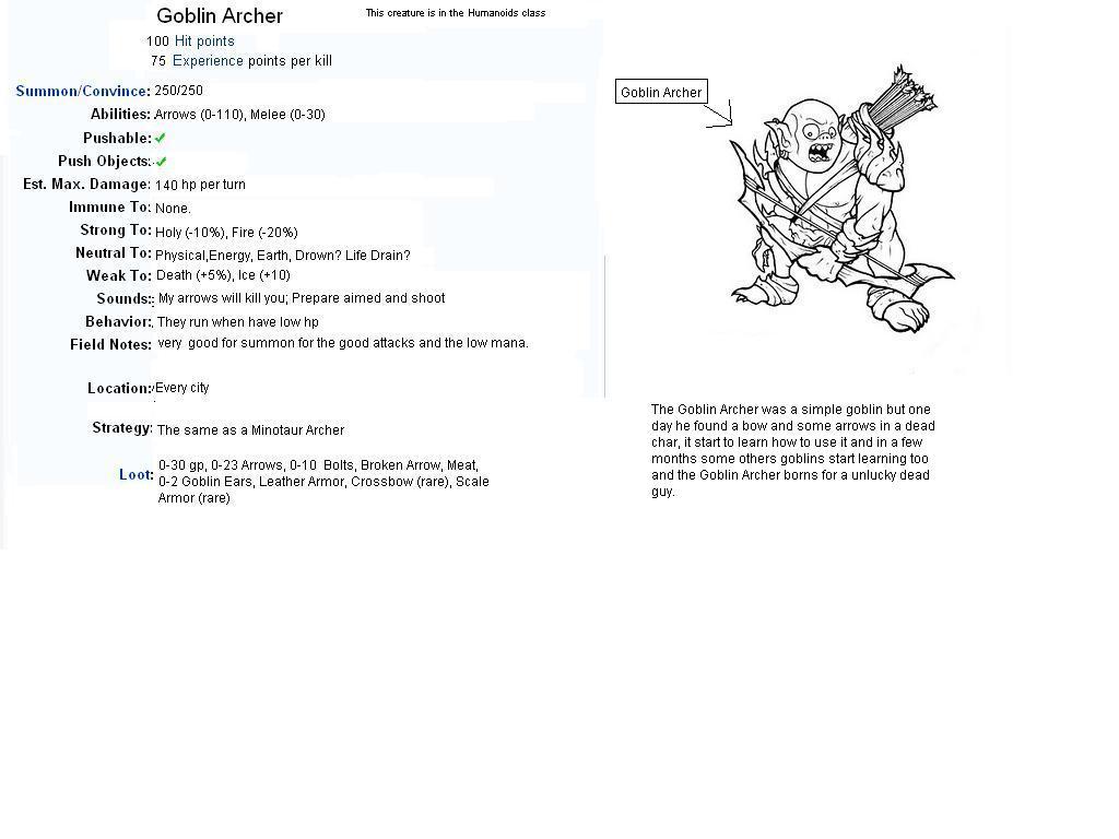 Goblin Archer Info