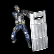 Normal class soldier in dark blue fatigues with shields