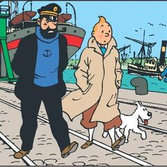 Snowy, walking along with Captain Haddock and Tintin
