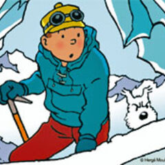 Tintin and Snowy entering a cave to see <a href=
