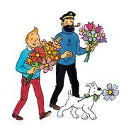 Tintin Haddock Snowy hold flowers