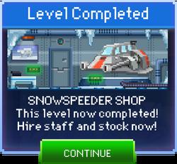 Message Snowspeeder Shop Complete