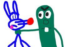 Larry the Cucumber grabs Calamity Coyote VeggieTales parody