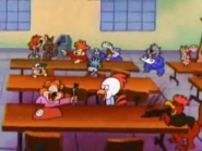 Laughing at Plucky's jokes during lunch time.