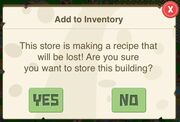 Recipe warning (inventory)