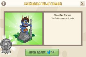 Ninja 3 blue oni statue