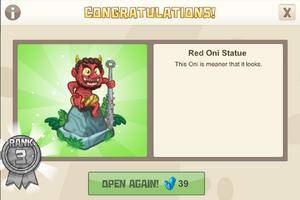Ninja 3 red oni statue