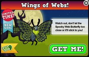 Spooky web butterfly modal