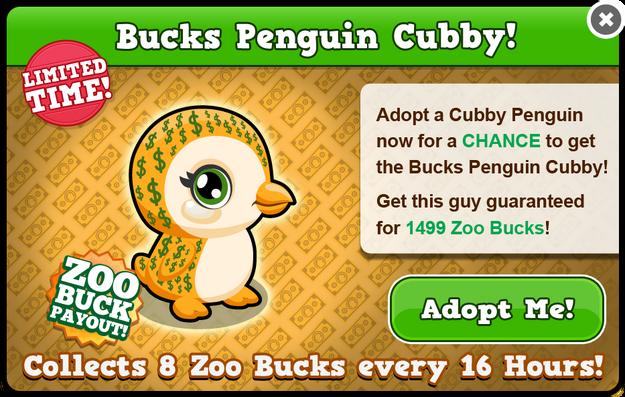 Cubby penguin bucks modal