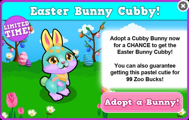 Cubby bunny easter modal