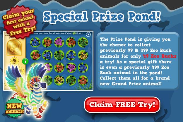Rainbow zebra pegasus prize pond modal