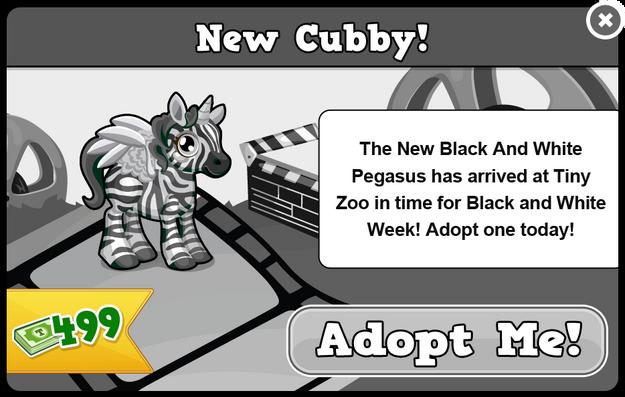 Cubby pegasus black and white modal