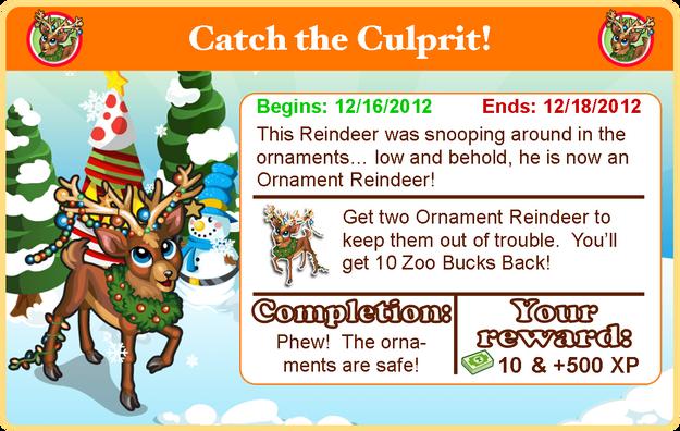 Ornament reindeer goal modal