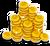 Goal coins pile icon
