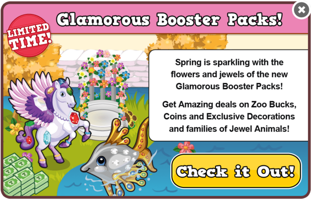 Flowers & gems booster packs modal