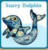 Starry dolphin card