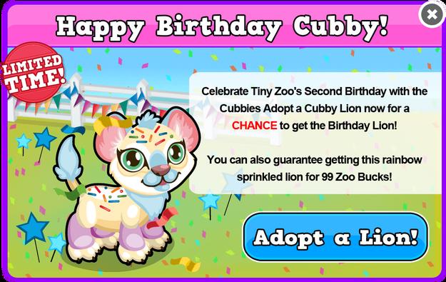 Cubby lion birthday modal