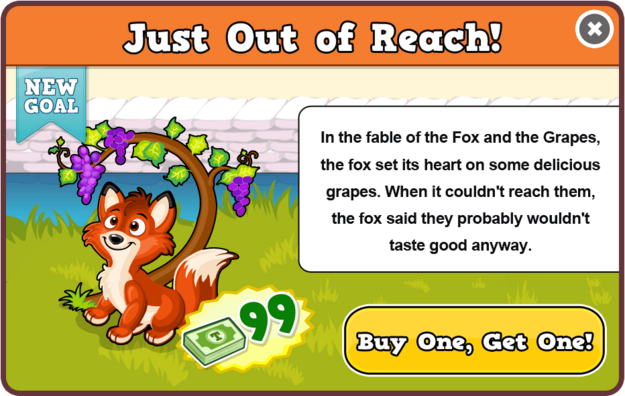 Fox and the grapes modal