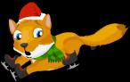 Ice skating fox an