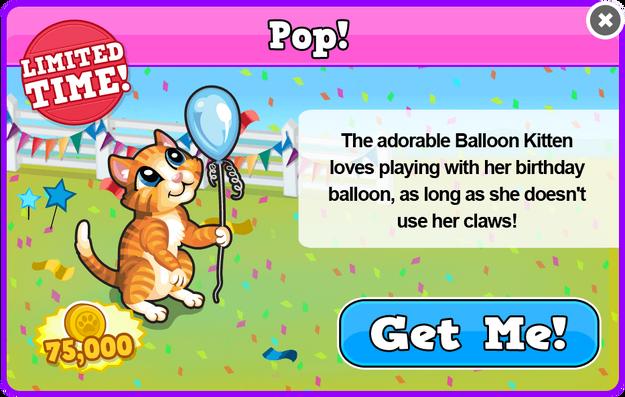 Balloon kitten modal