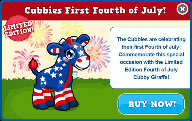 Fourth of july cubby giraffe modal