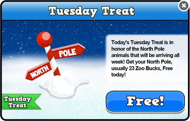 North pole tuesday treat modal