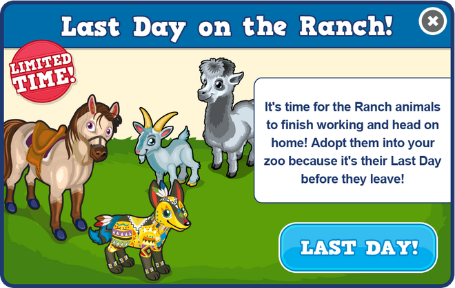 Ranch last day modal