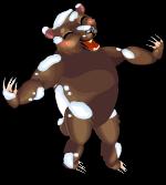 Snowy grizzly bear an