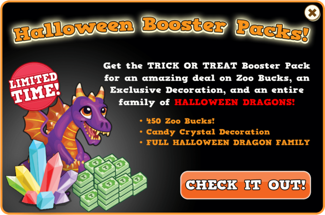Booster pack halloween dragon modal