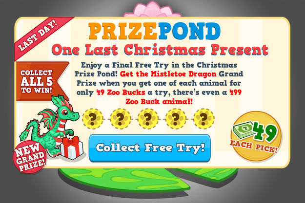 Prize pond december last modal