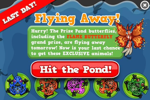 Flame butterfly prize pond modal