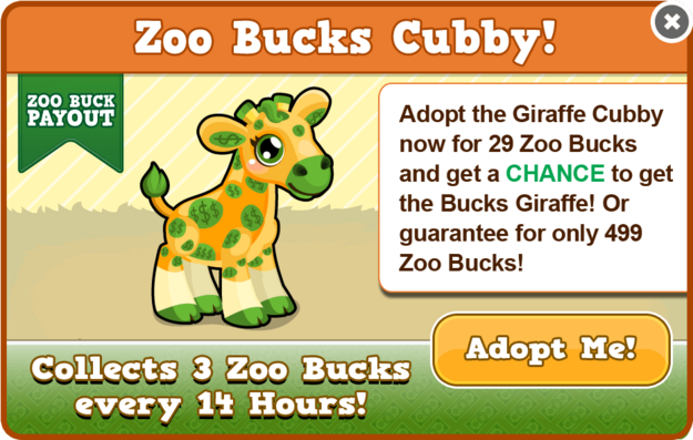 Cubby bucks giraffe modal