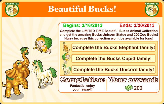 Beautiful bucks collection goal modal