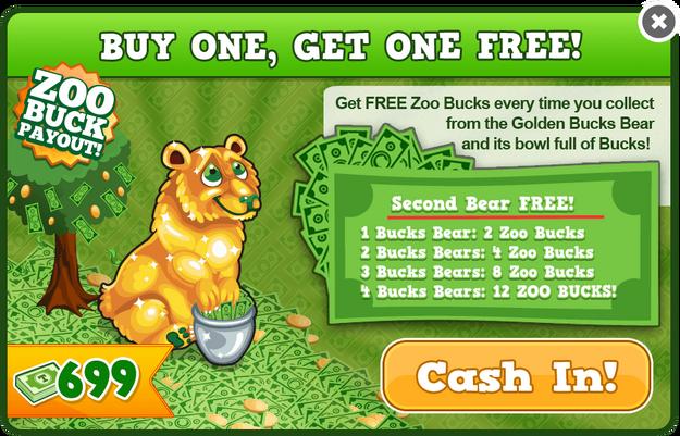 Gold bucks bear modal