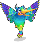 Iridescent hummingbird static