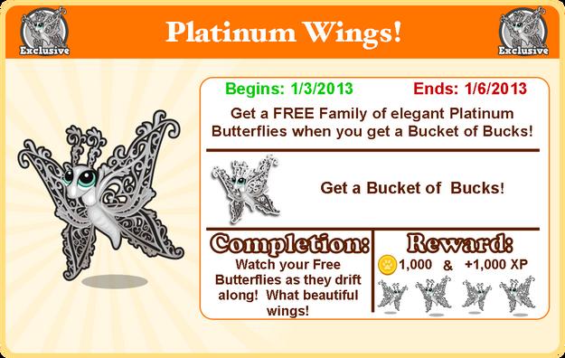 Platinum butterfly goal modal