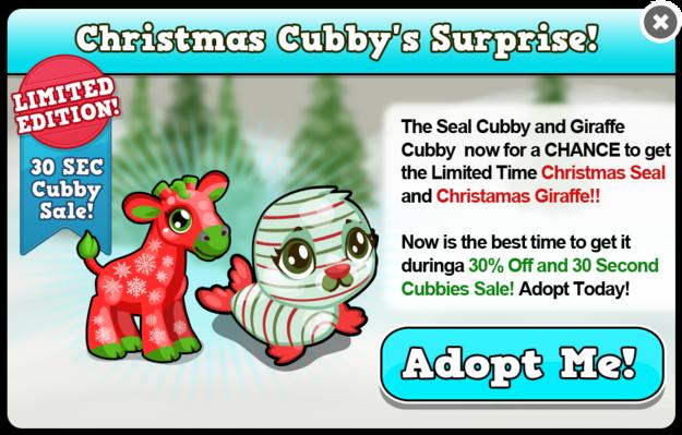 Christmas cubbies modal