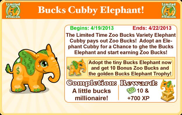 Cubby elephant bucks goal modal
