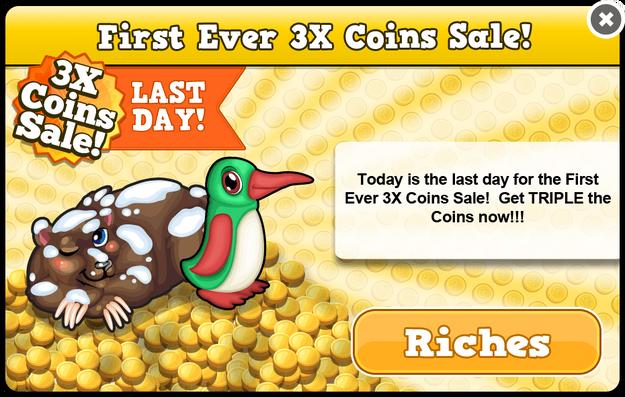 3x coin sale last modal