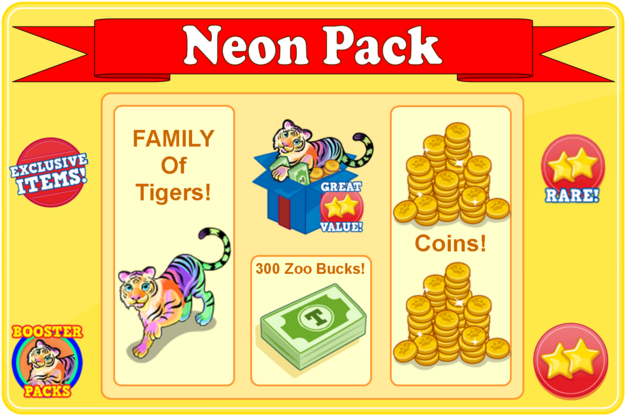 Rainbow glow tiger booster pack modal