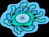 Blue button jellyfish single