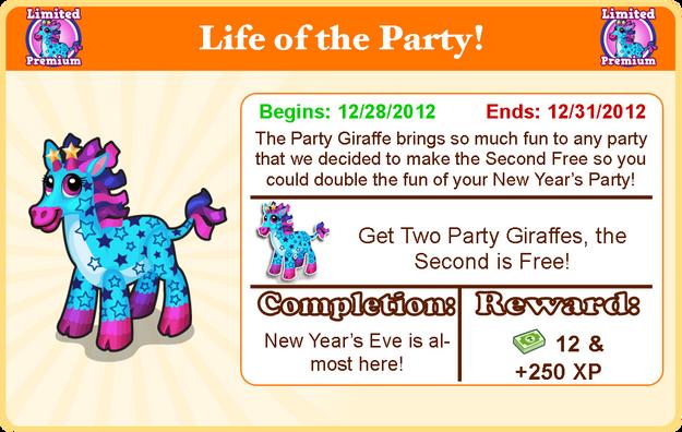 Party giraffe goal modal