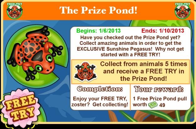 Prize pond goal modal