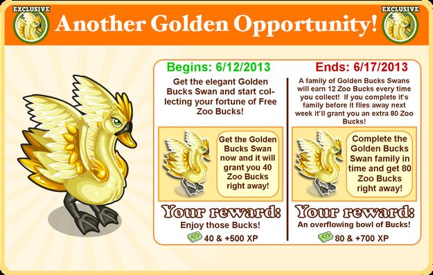Golden bucks swan goal modal